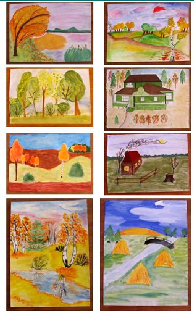 Осенний пейзаж в нашем творчестве 6